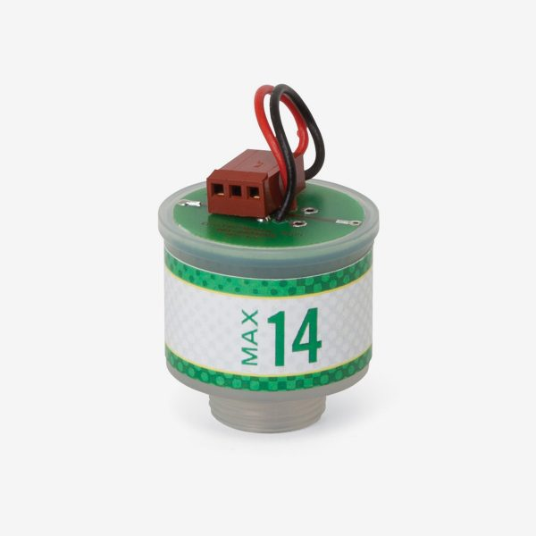Green and white cylindrical Max-14 scuba sensor on white background