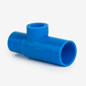 Blue 15mm tee adapter at an angle